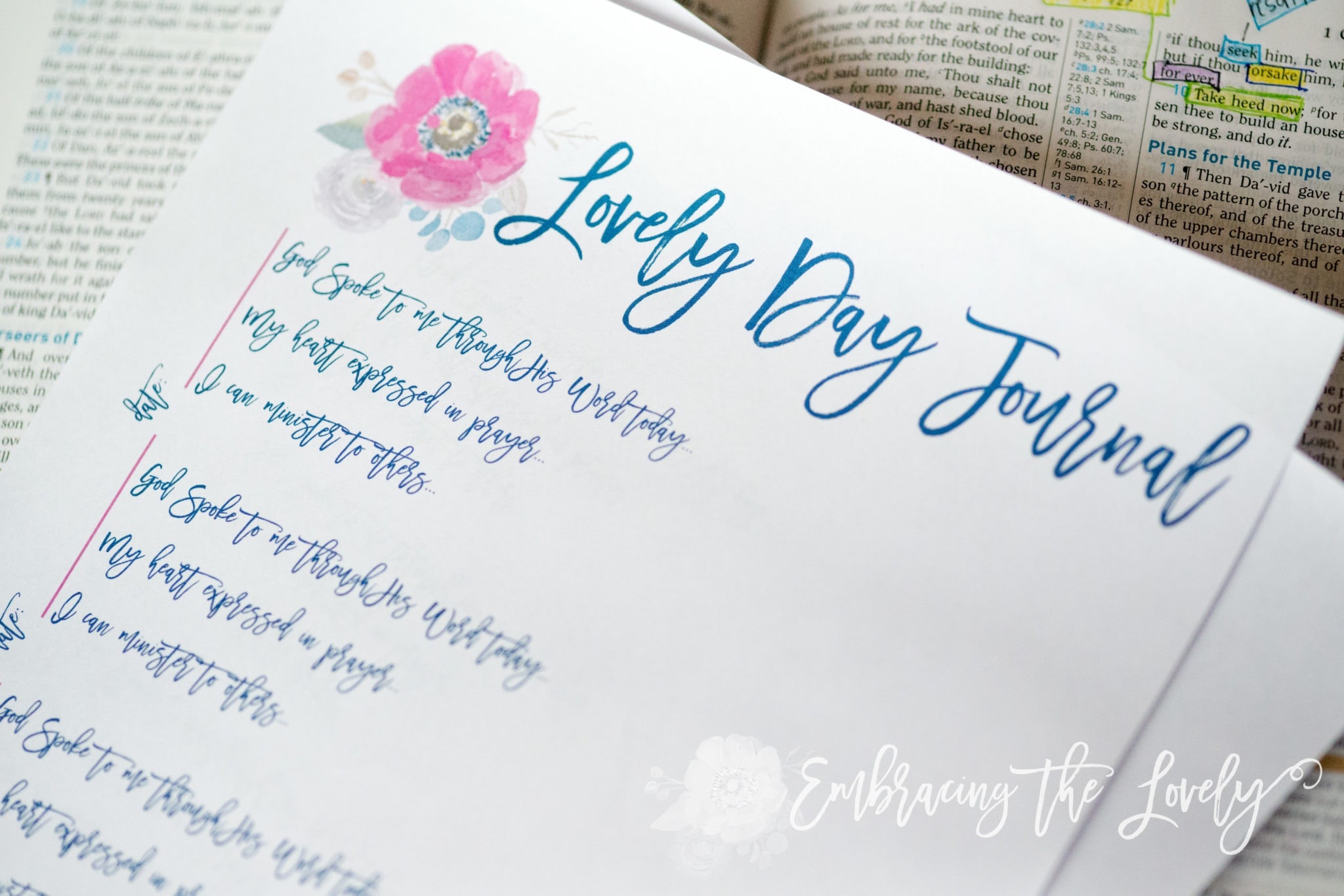 Are you Ready to Make your Day Lovely In God? Start your Day Right and Download your Free Lovely Day Devotional Journal Printable from Hey Creative Sister