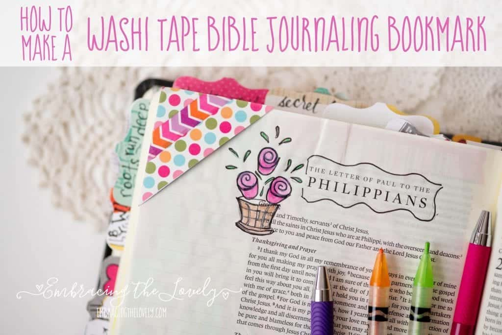 These Corner Washi Tape Bible Journaling Bookmarks are a quick and easy creative project for your bible study- with Hey Creative Sister