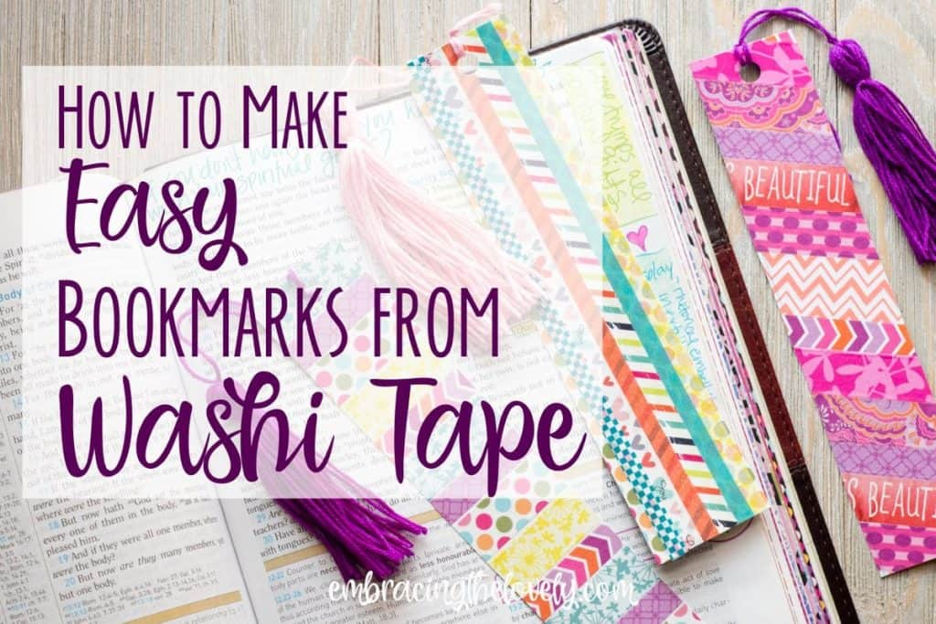 These Colorful and Easy Homemade Bookmarks Made From Washi Tape will Decorate your Bible, Faith Planner or Will Make a Lovely Gift- Hey Creative Sister