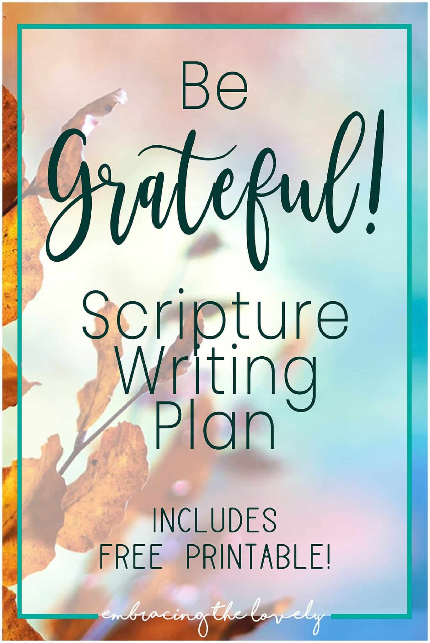 Did you know that you can find Thanksgiving in the Scriptures?  Give thanks daily plus a free Scripture Writing Plan with Bible Verses on Thanksgiving. with Hey Creative Sister