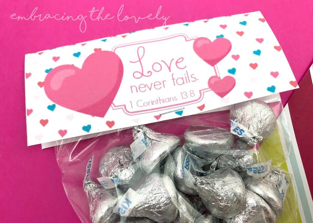 Love Never Fails Chocolate Kiss Valentine Printable