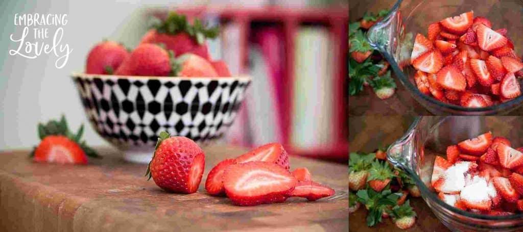 Strawberry Pretzel Cream Cheese Recipe- preparing the strawberries