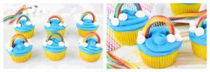 rainbow decorated cupcakes