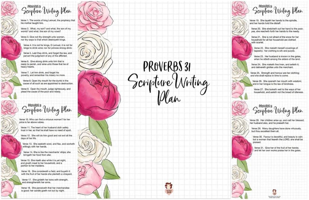 Free Printable Scripture Writing Plan- Proverbs 31